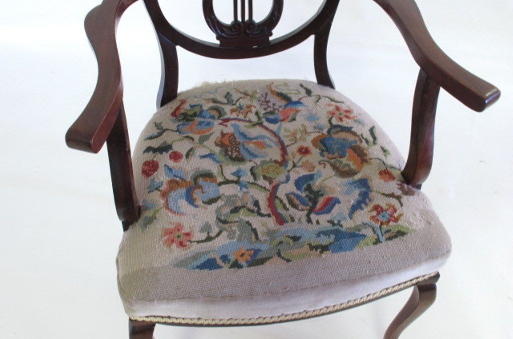 Antique Needlepoint Upholstered Armchair - 3