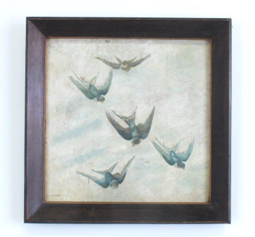 Oil on Panel of Birds