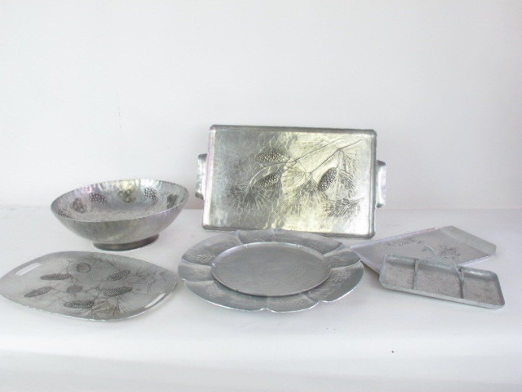Group Hammered Aluminum Trays Bowls