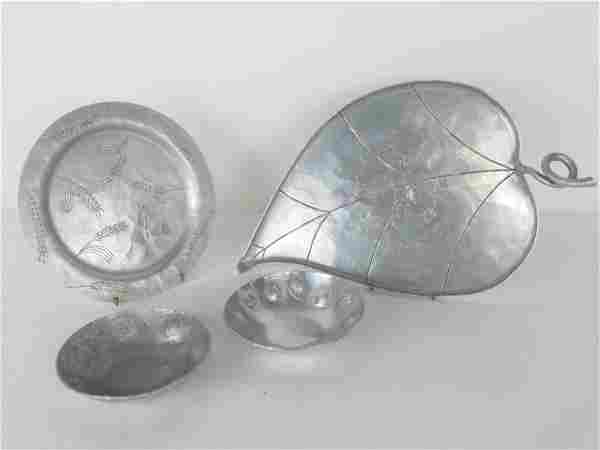 Group of Four Hammered Etched Aluminum