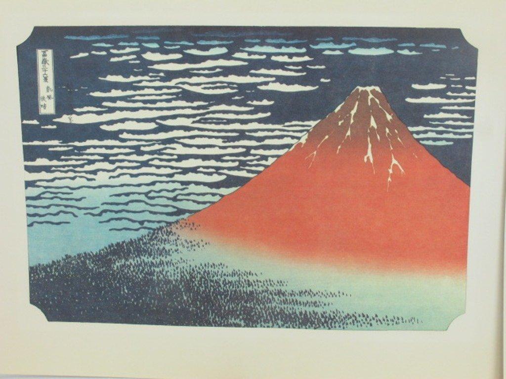 Three Japanese Wood Block Prints Mt. Fuji - 2
