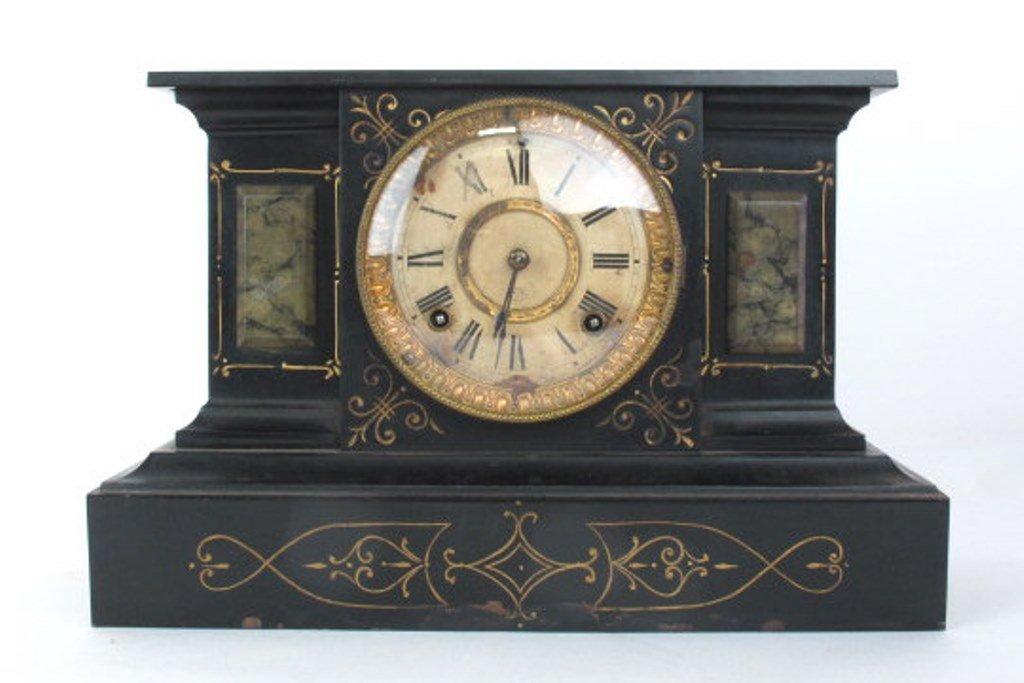 Ansonia Black Mantle Clock - 2