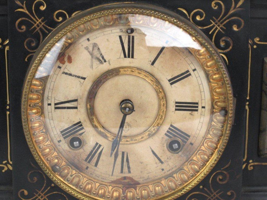 Ansonia Black Mantle Clock - 3