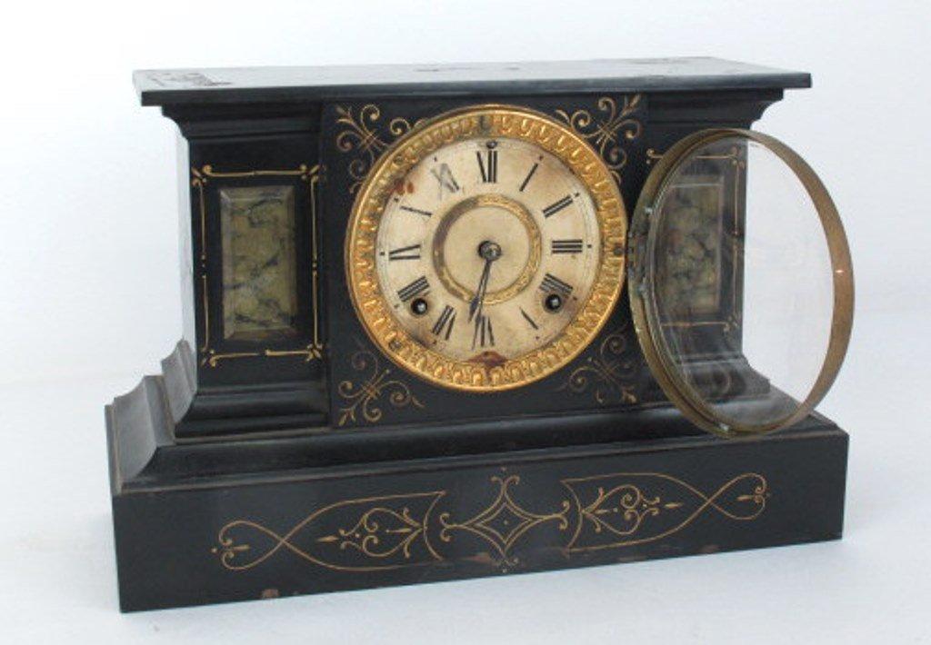 Ansonia Black Mantle Clock - 4
