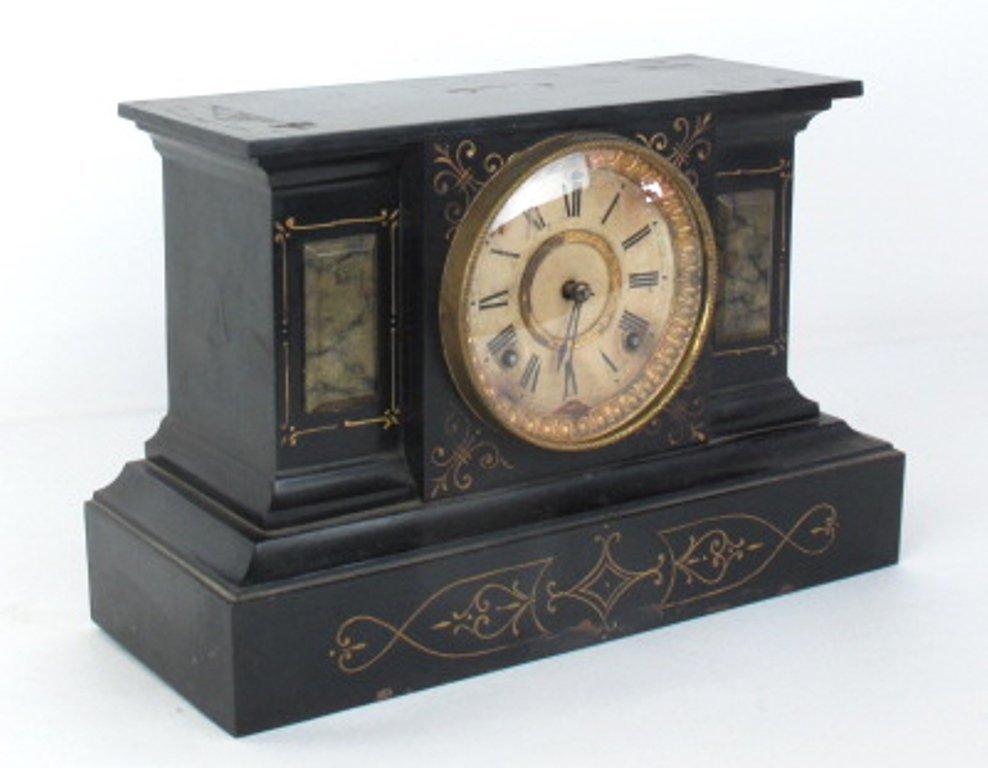 Ansonia Black Mantle Clock - 5