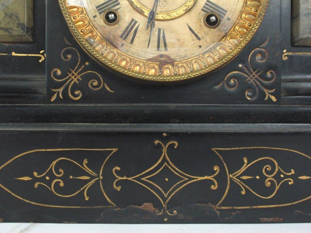 Ansonia Black Mantle Clock - 6