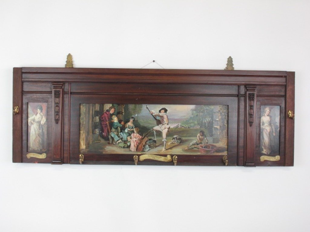 Mahogany Panel with Inset Paintings - 2