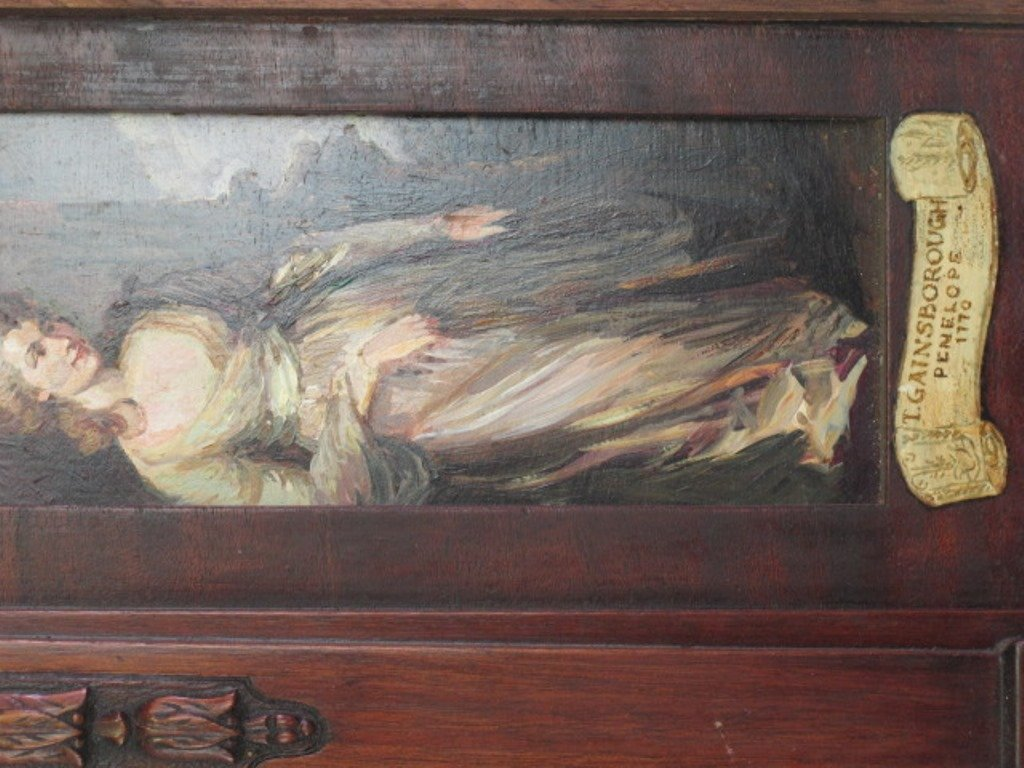 Mahogany Panel with Inset Paintings - 8