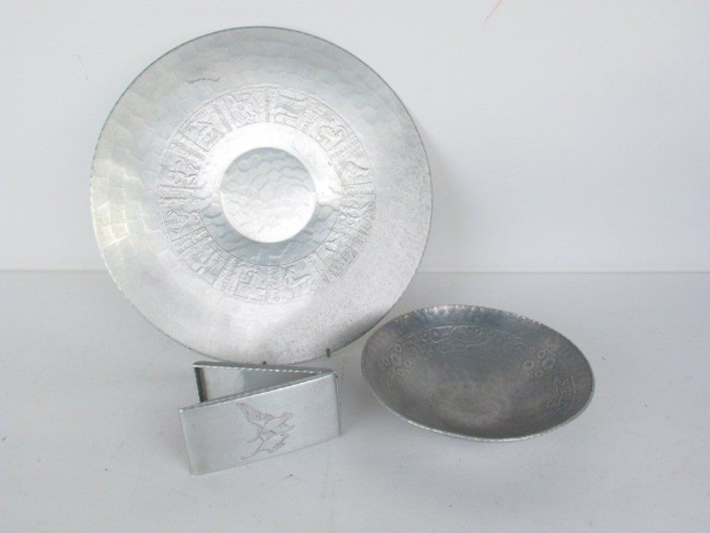 Group of Three Hammered Aluminum