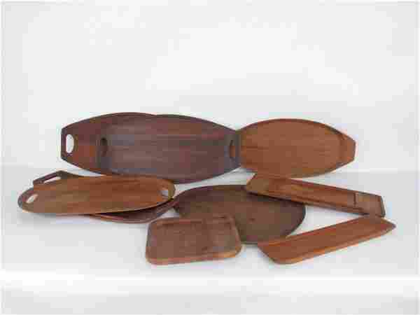 Group of Ten Danish Teak Wood Trays