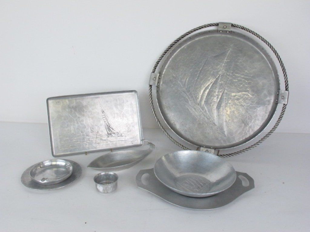 Group of Eight Hammered Aluminum Items