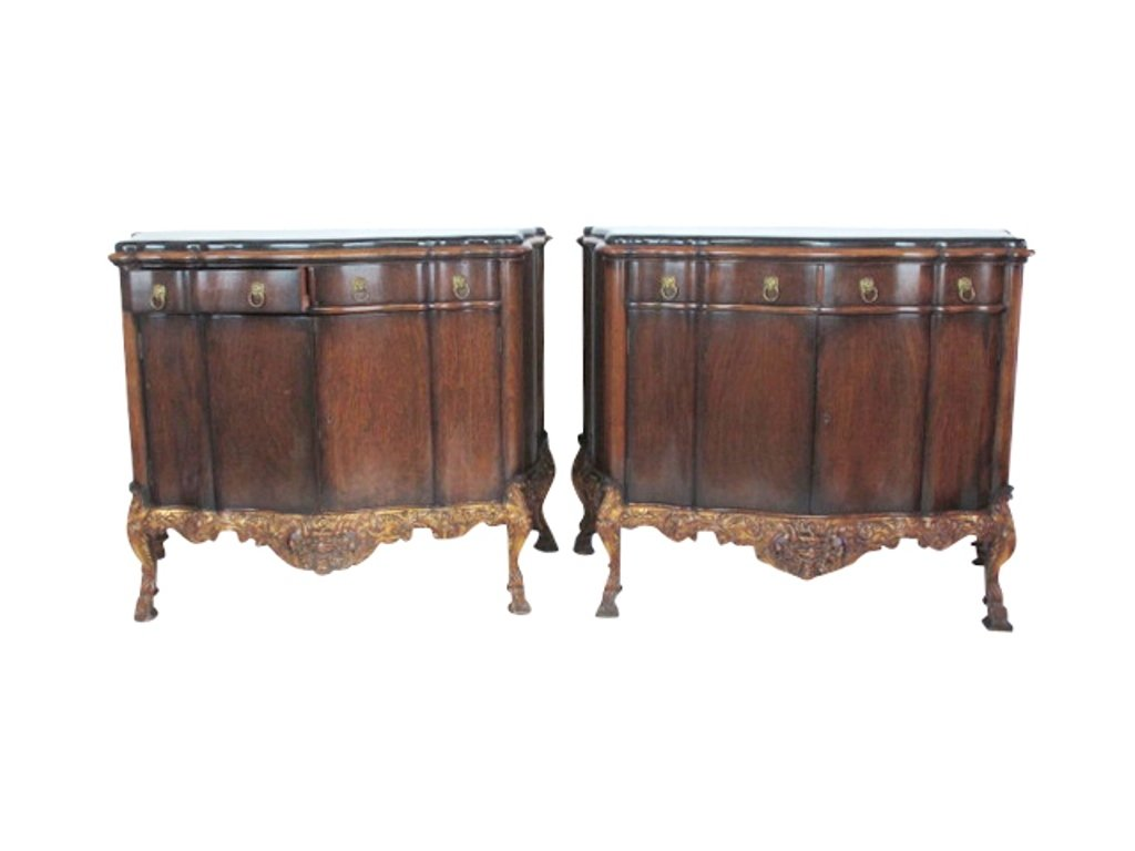 Pair Granite Top Carved Console Cabinets