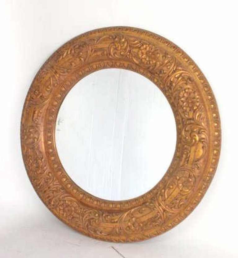 Large Decorative Circular Carved  Wood Wall Mirror