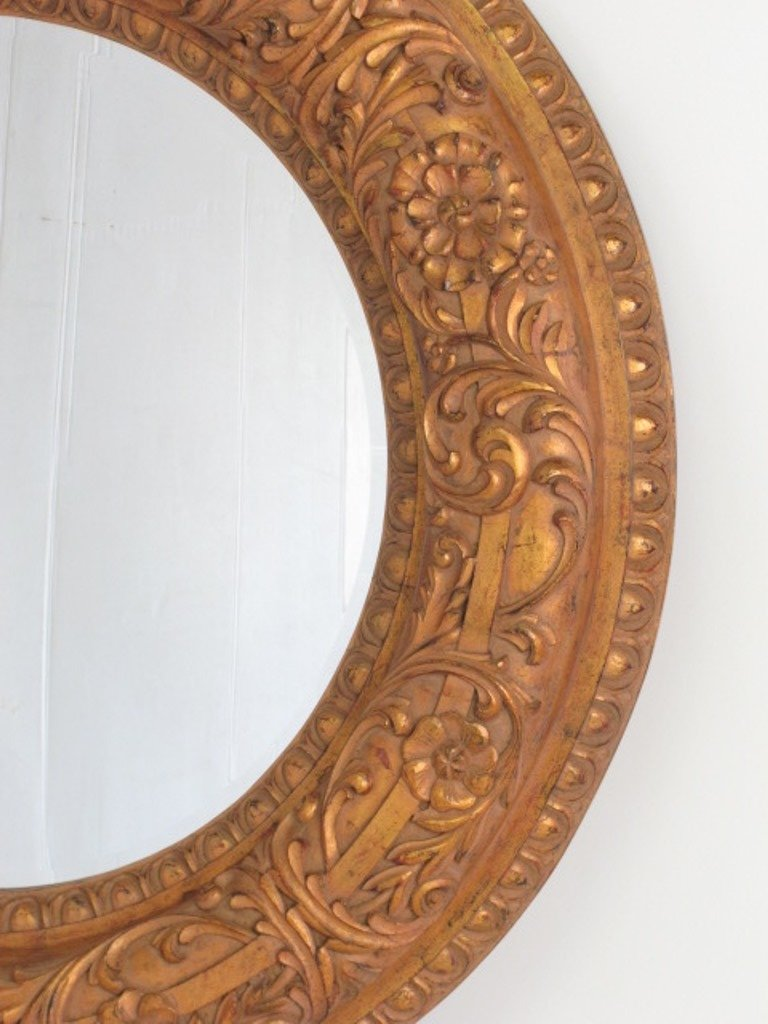 Large Decorative Circular Carved  Wood Wall Mirror - 2