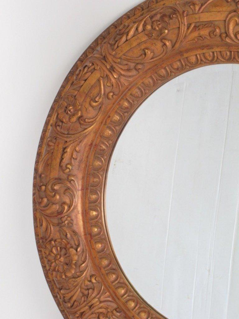 Large Decorative Circular Carved  Wood Wall Mirror - 3