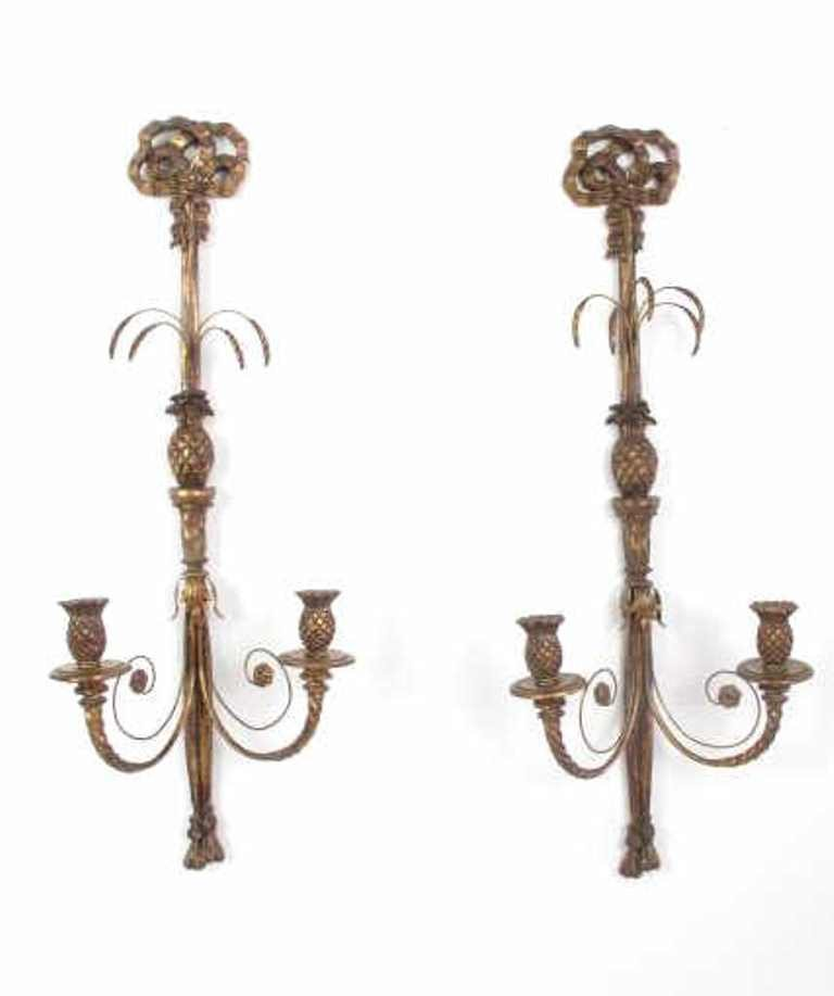 Pair Decorative Wooden Wall Sconces