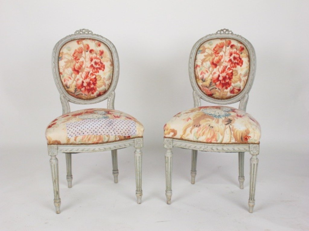 Pair Louis XVI  Style Side Chairs