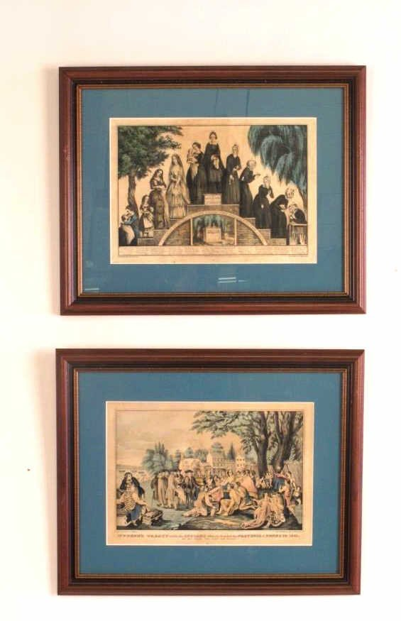 Pair Currier & Ives Framed Prints