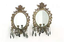 Pair of Antique Mirrored Wall Sconces Pair of mirrored