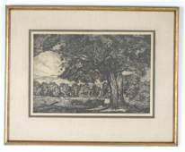 Luigi Lucioni Drypoint Etching Study of a landscape