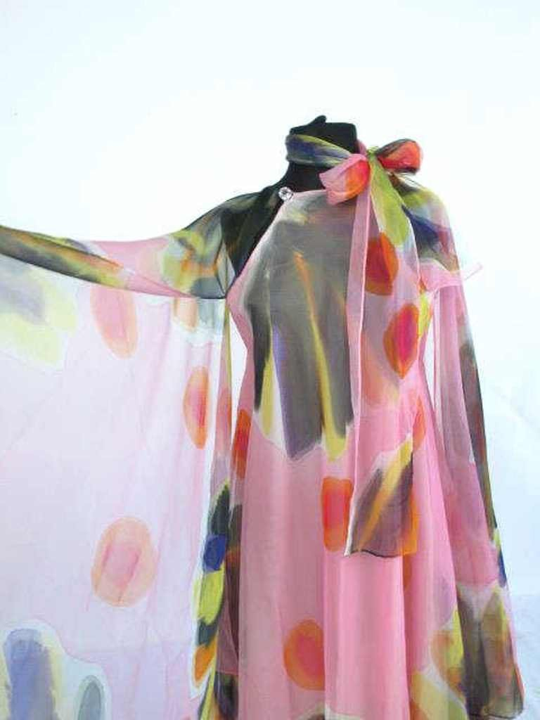 Painterly Silk Dress Silk dress having painterly design - 3