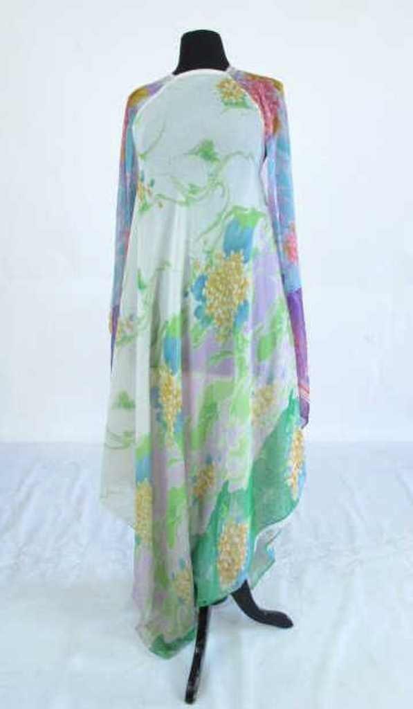 Colorful Floral Sheer Dress Vintage 1970s chiffon floor