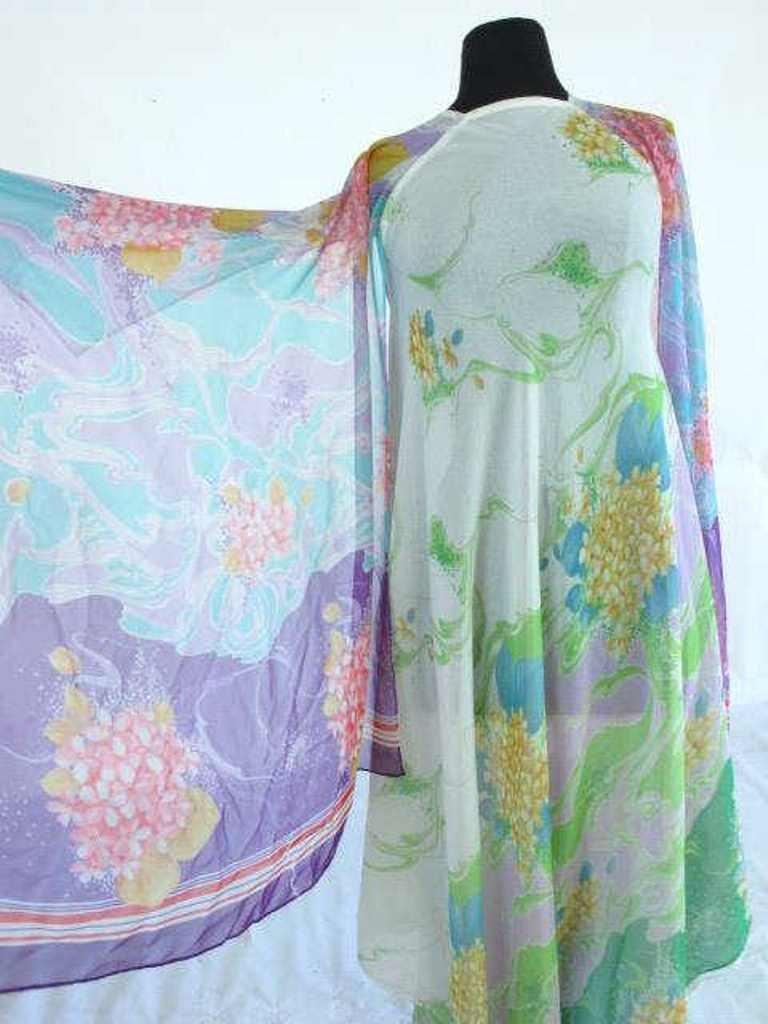 Colorful Floral Sheer Dress Vintage 1970s chiffon floor - 2