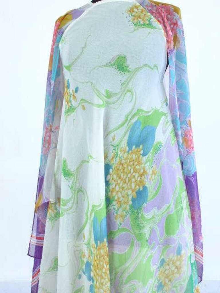 Colorful Floral Sheer Dress Vintage 1970s chiffon floor - 3
