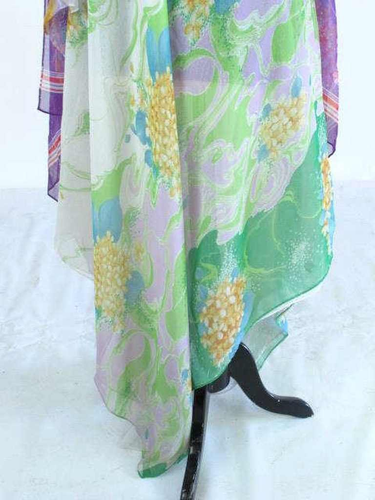 Colorful Floral Sheer Dress Vintage 1970s chiffon floor - 4