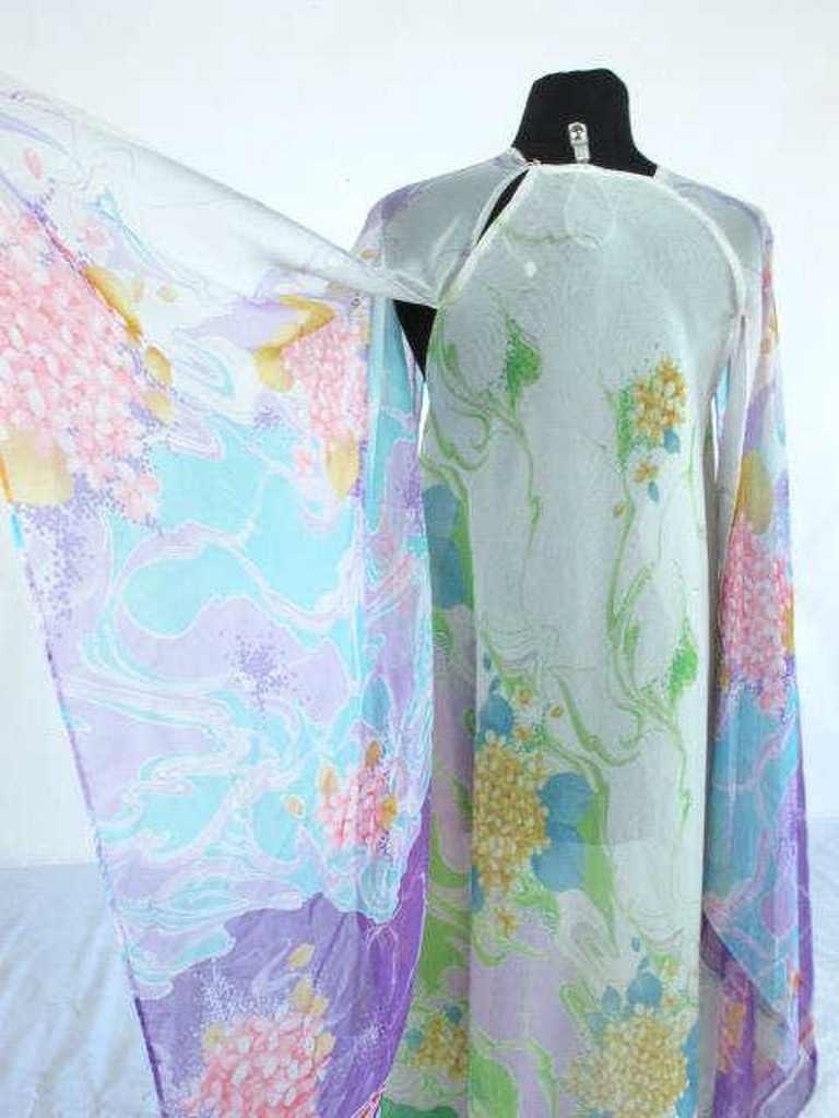 Colorful Floral Sheer Dress Vintage 1970s chiffon floor - 5
