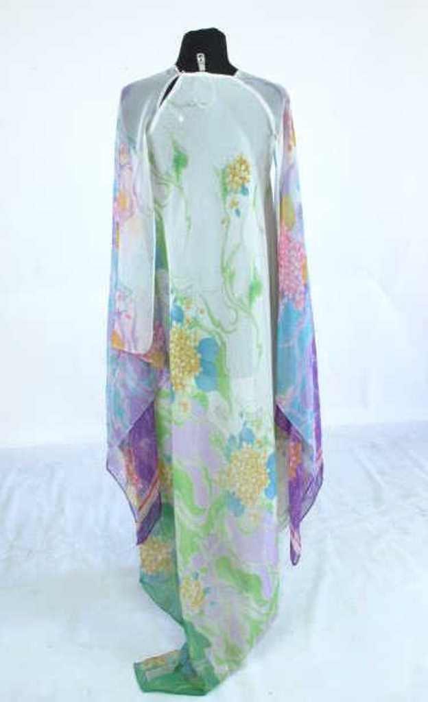 Colorful Floral Sheer Dress Vintage 1970s chiffon floor - 6