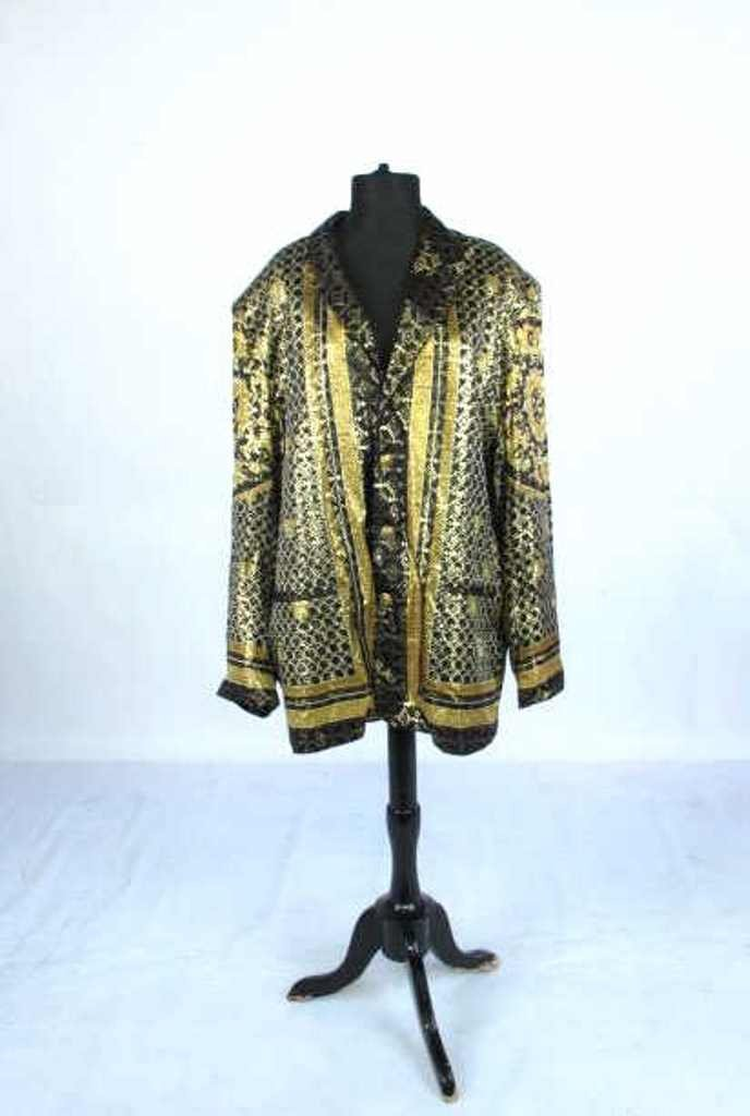 Metallic Jacket Black silk jacket having gold threaded