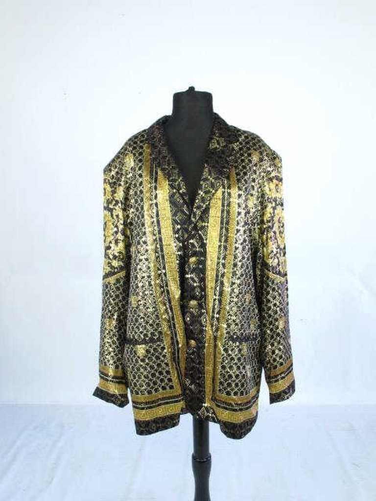 Metallic Jacket Black silk jacket having gold threaded - 2