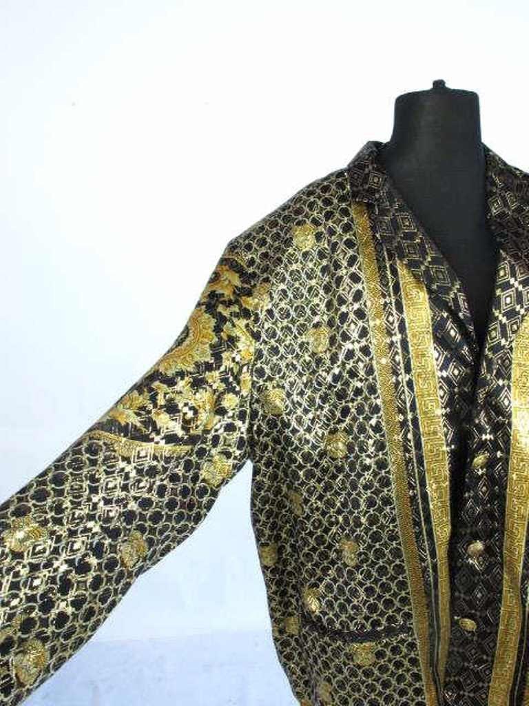 Metallic Jacket Black silk jacket having gold threaded - 3
