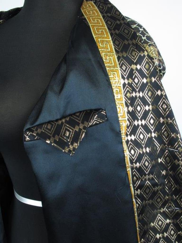 Metallic Jacket Black silk jacket having gold threaded - 4