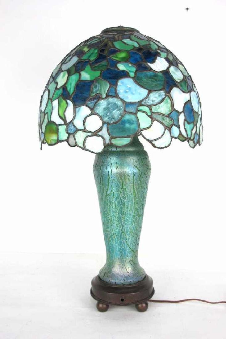 Iridescent Art Glass &  Bronze Table Lamp Stamped