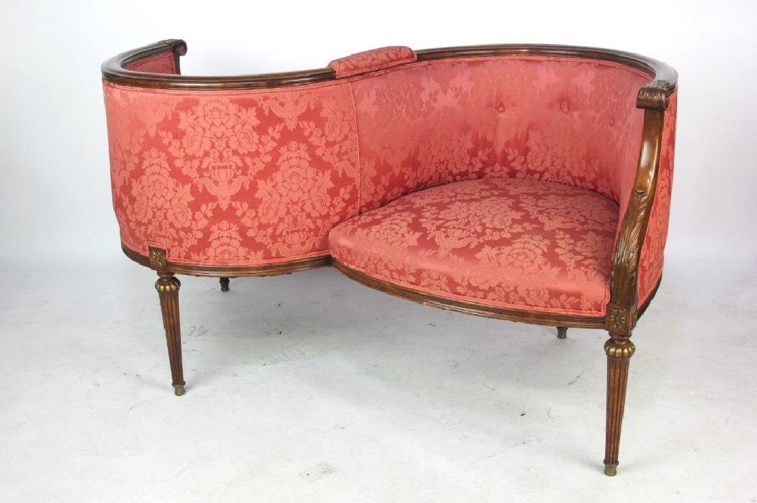 French Louis XVI Settee Tete-a-tete settee having 2