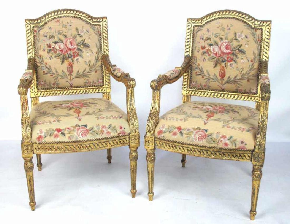 Pair French Gilt Wood Needlepoint Chairs