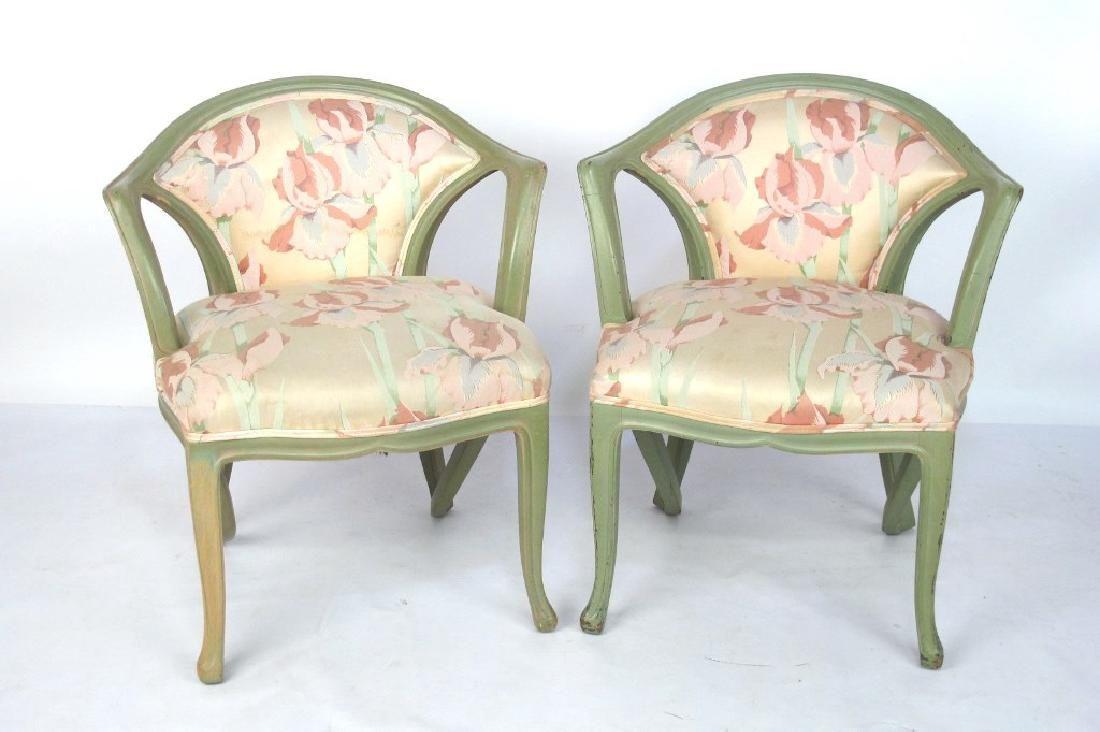 Pair Art Nouveau Style Armchairs