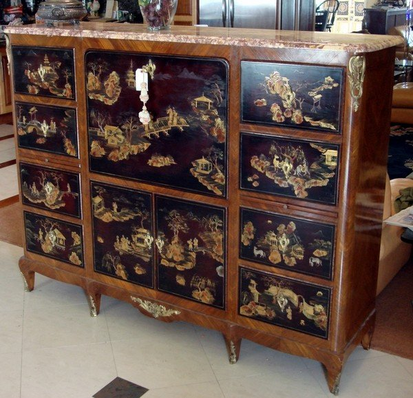 1016: Antique French Chinoiserie Walnut Cabinet 19th C.