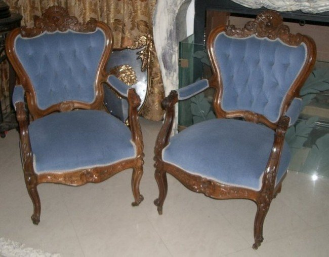 1021: Antique Victorian Arm Chairs Two Remarkable Rosew