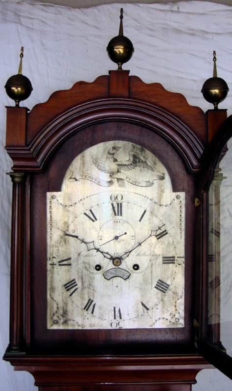 1024: Antique English Longcase Clock Signed Carter 19th