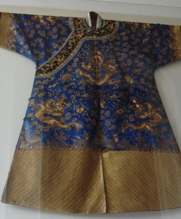 1050: Chinese Robe Textile Silk Gold Embroidered 19th C