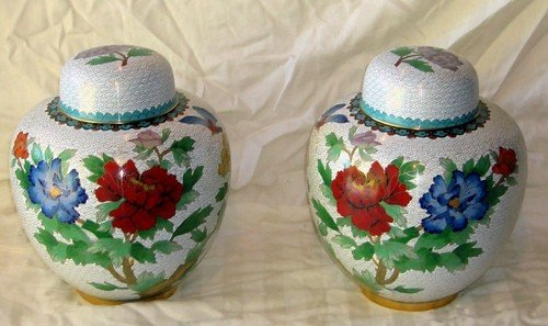 1202A: Pair of Chinese Cloisonne Vases Matching Lidded