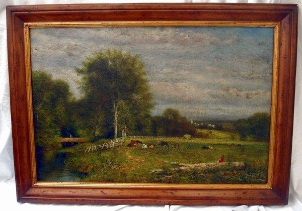 1204: Oil Painting Landscape Signed Trevor James