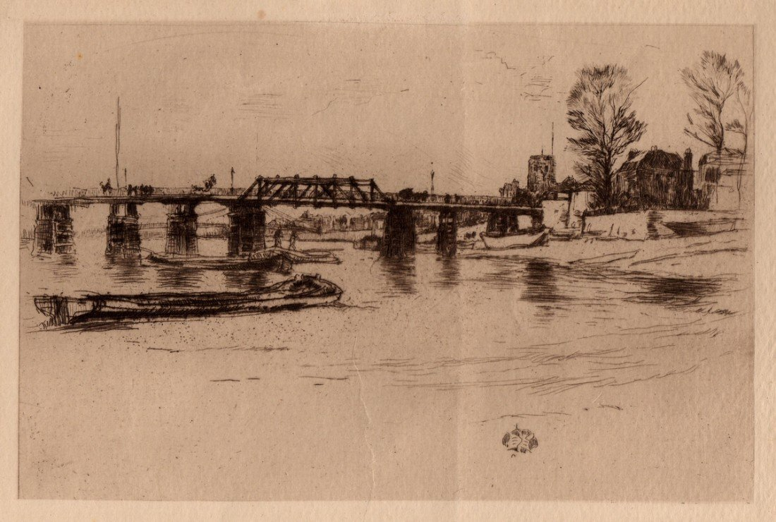 1207: Signed Antique Whistler Etching 19th Century