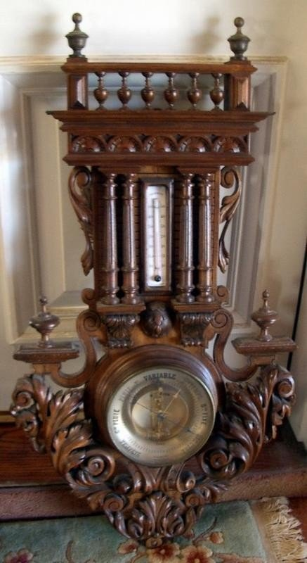 1211: Antique French Walnut Barometer Wall Piece by Bou
