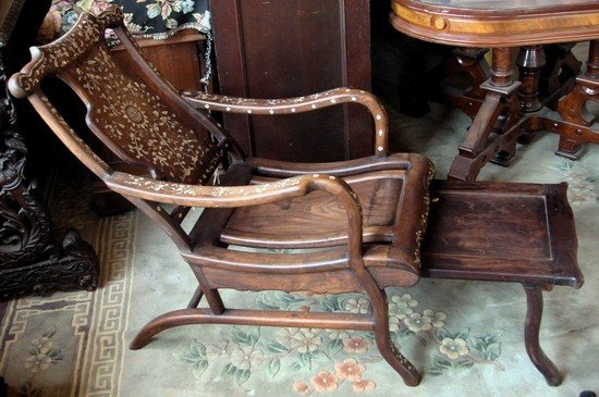 1213: Chinese Rosewood Chair MOP Inlaid Chaise