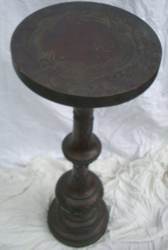 1214: Antique Bronze Japanese Meiji Hand Chased Pedesta