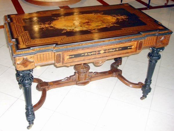 1215: Antique Marquetry Table attr. Alexander Roux 19th